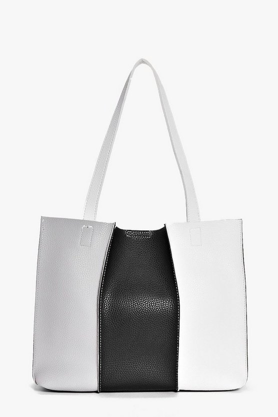 Ebony Monochrome Colourblock Shopper Bag