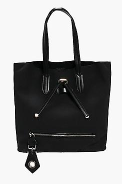 Heidi Suedette Zip Detail Shopper Bag