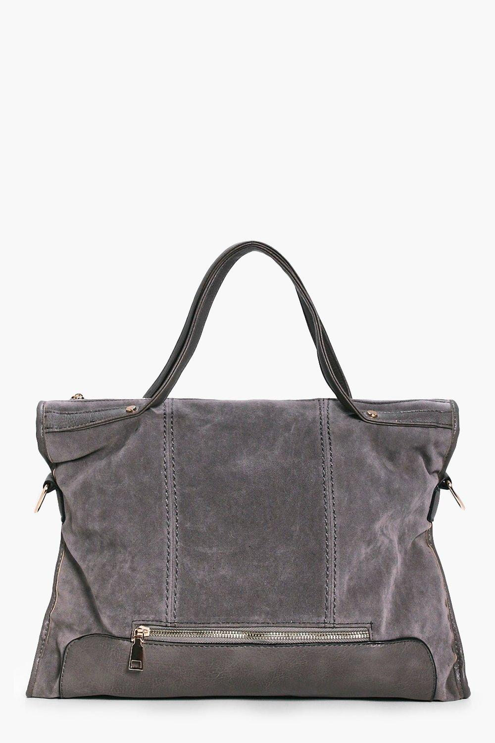 Suedette Metal Detail Holdall Bag - grey - Jemima