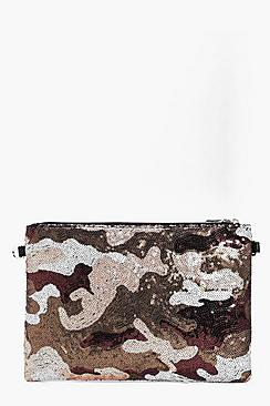Rachel Camo Sequin Clutch Bag