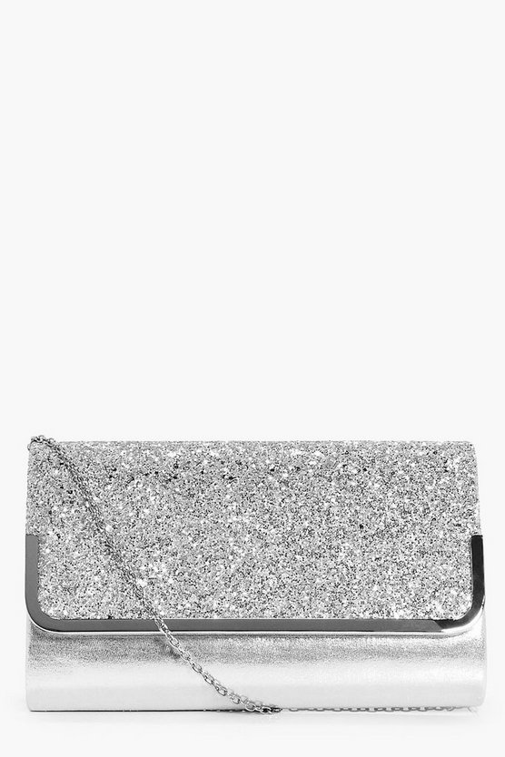 Saffron Metal Trim Glitter Clutch Bag