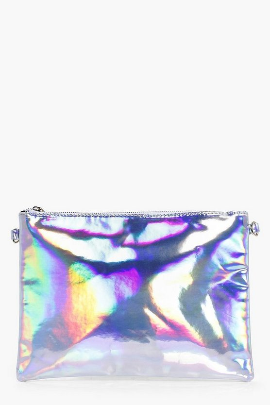 Molly Holographic Zip Top Clutch Bag