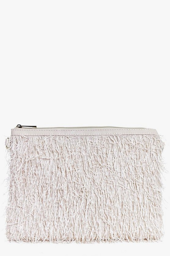 Faye Fringed Zip Top Clutch Bag