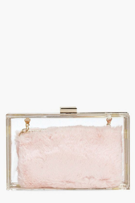 Anya Clear Faux Fur Purse Clutch Bag