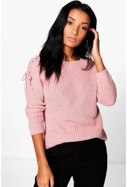 Scarlett Lace Up Shoulder Jumper