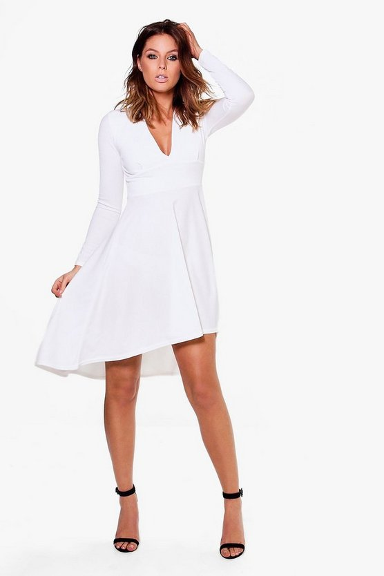 Kia Long Sleeve Plunge Dip Hem Skater Dress