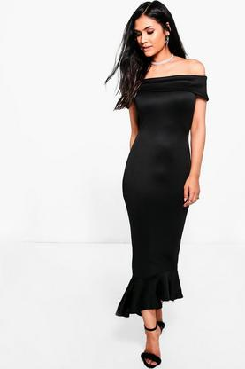 Bai Oversized Bardot Peplum Hem Maxi Dress