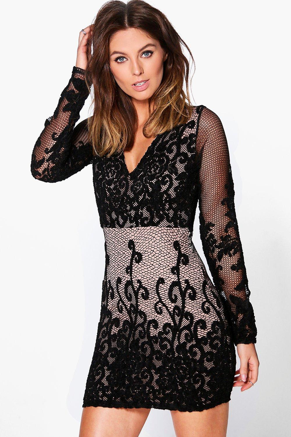 Charlie Print Lace Detail Bodycon Dress