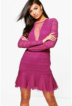Boutique Aeron Lace Peplum Bodycon Dress