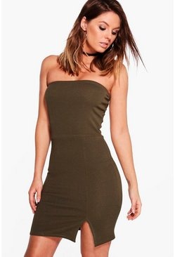 Sue Crepe Bandeau Front Split Bodycon Dress