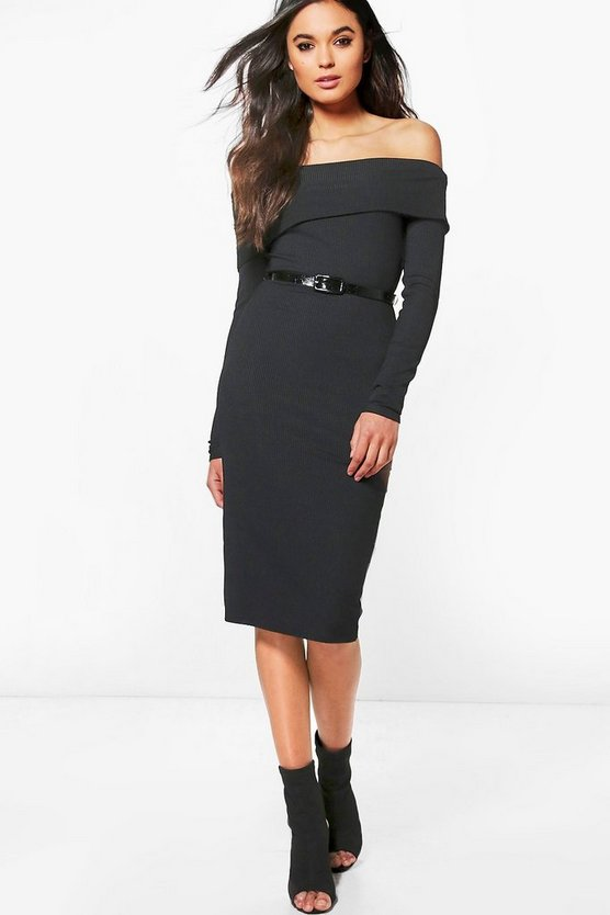 Cora Ribbed Off Shoulder Belted Midi Dress