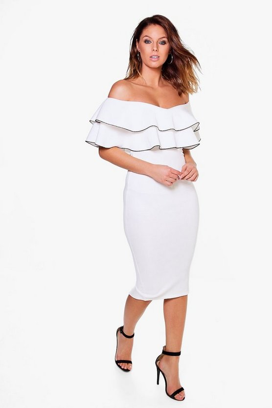Mimi Off Shoulder Contrast Tipping Midi Dress