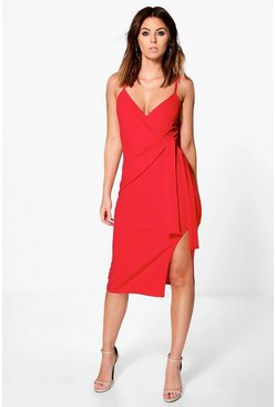 Perri Strappy Wrap & Tie Detail Midi Dress