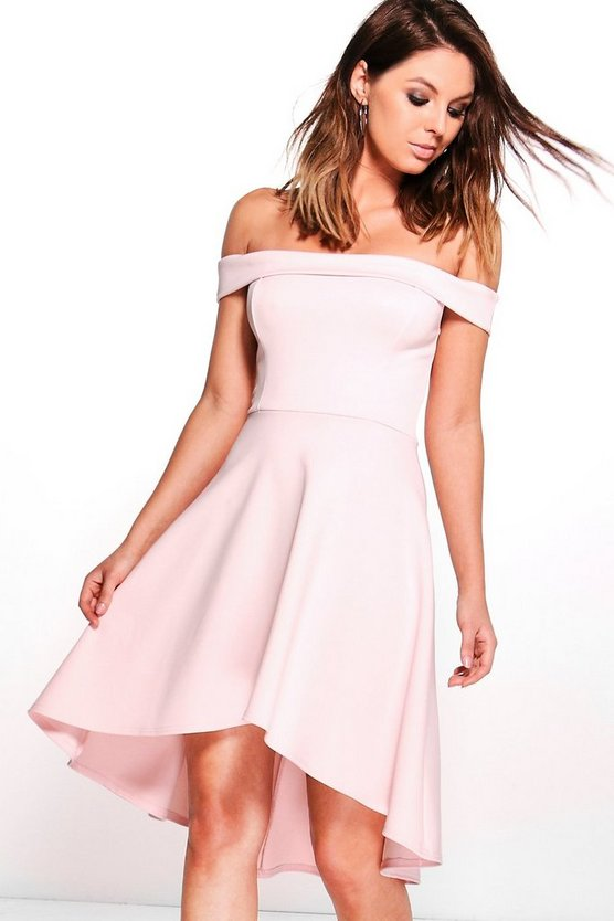 Molly Off Shoulder Dip Hem Skater Dress