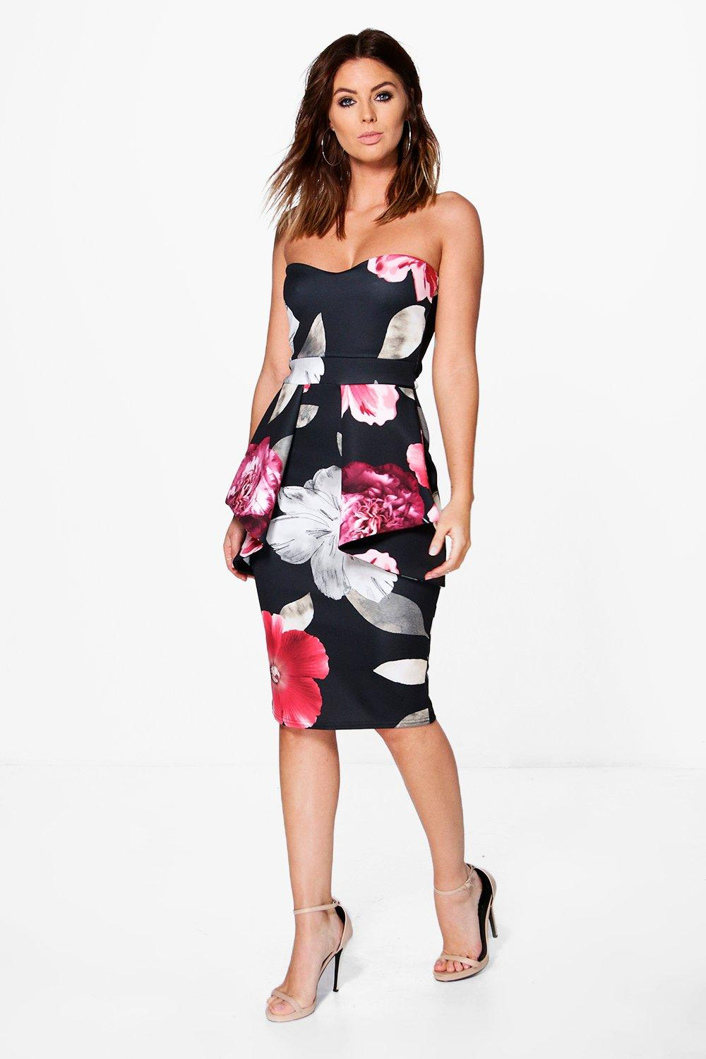 Megan Floral Bandeau Peplum Midi Dress