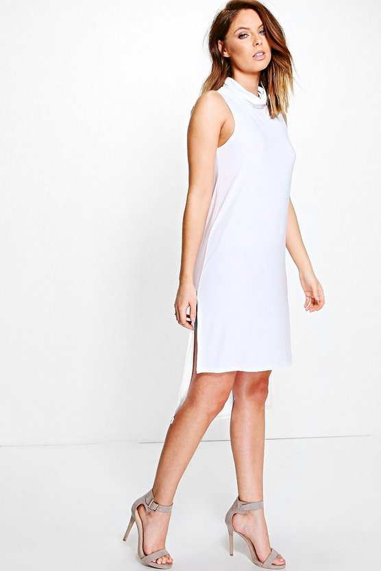 Marie Roll Neck Slinky Dip Hem Shift Dress