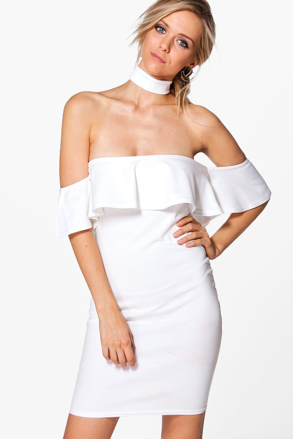 Jessa Off Shoulder Choker Bodycon Dress