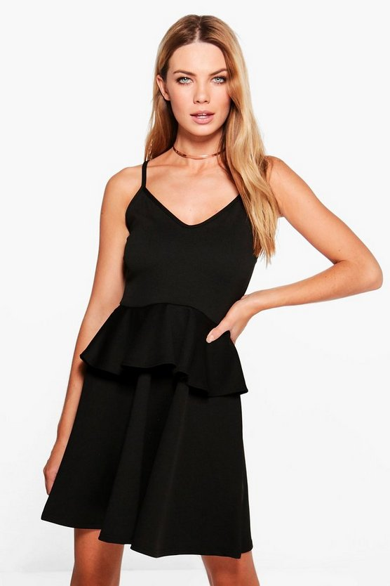 Leah Strappy Peplum Skater Dress