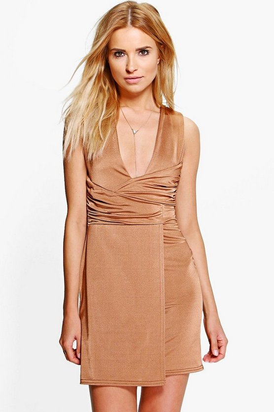 Leni Slinky Plunge Wrap Over Bodycon Dress