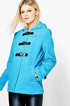 Emily Wool Look Hooded Duffle Coat!