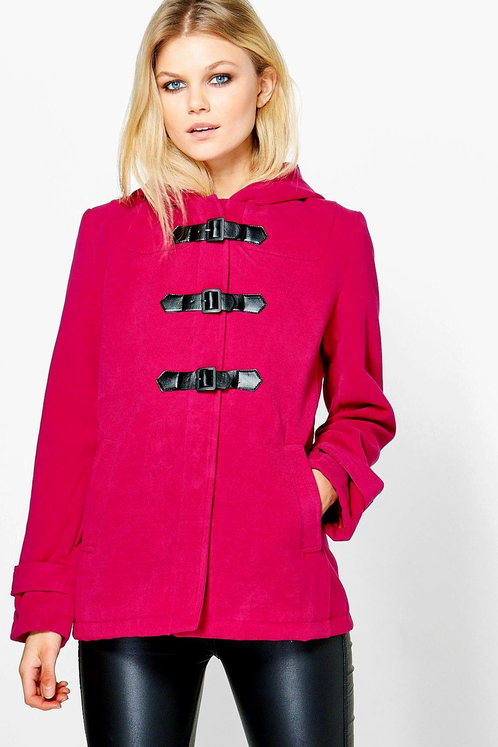 Wool Look Hooded Duffle Coat  pink