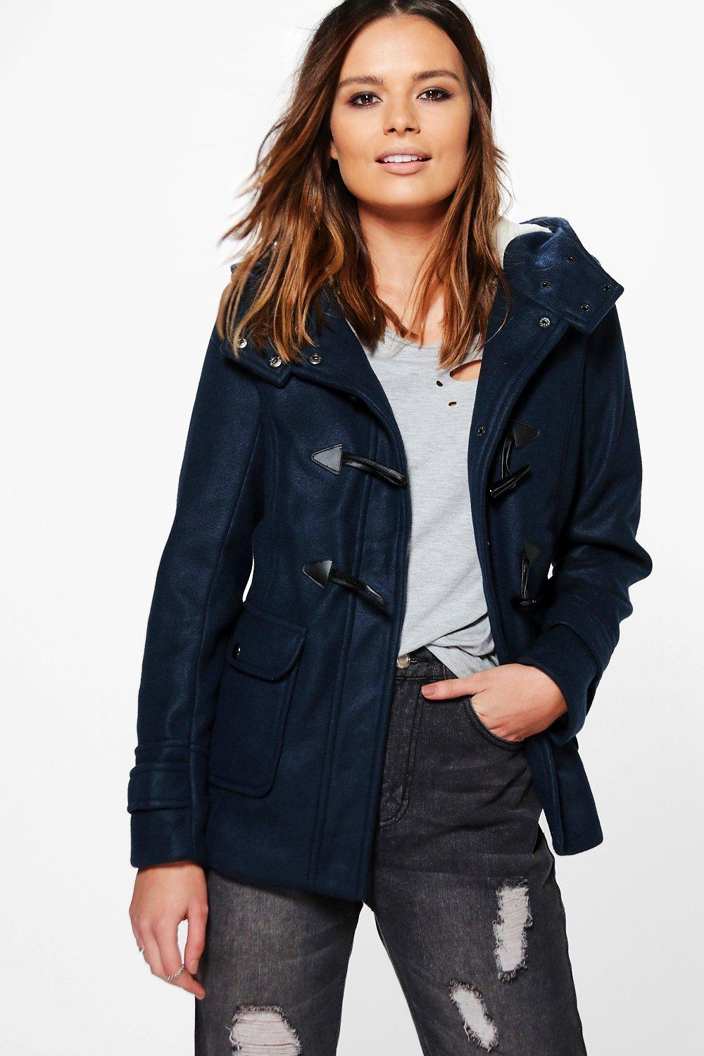 Sarah Wool Look Jacket With Faux Fur Hood Lining