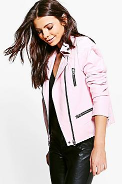 Tilly PU Biker Jacket With Quilted Shoulder Panels