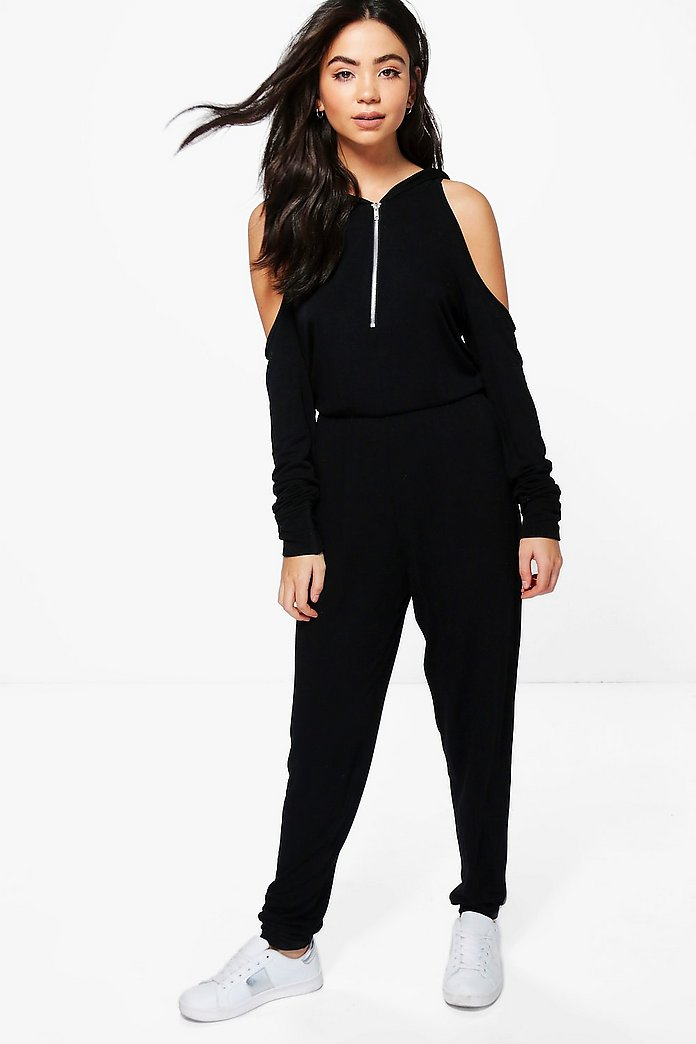 Jenny Cold Shoulder Hooded Jumpsuit