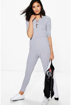 Kelly Lace Up Front Casual Jumpsuit