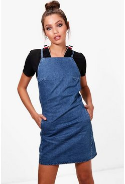 Billie Strappy Pinafore Denim Dress