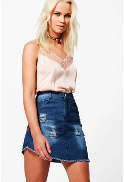 Amelia Asymmetric Fray Hem Denim Skirt