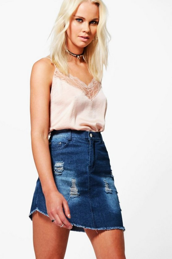 Asymmetric Fray Hem Denim Skirt