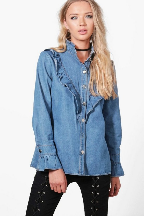 Emily Frill Trim Denim Shirt