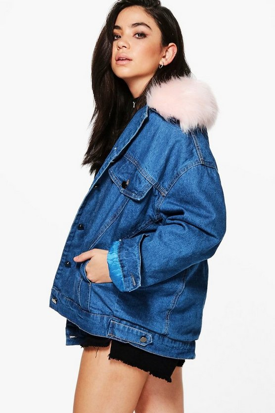 Faye Fur Line Oversize Denim Trucker Jacket