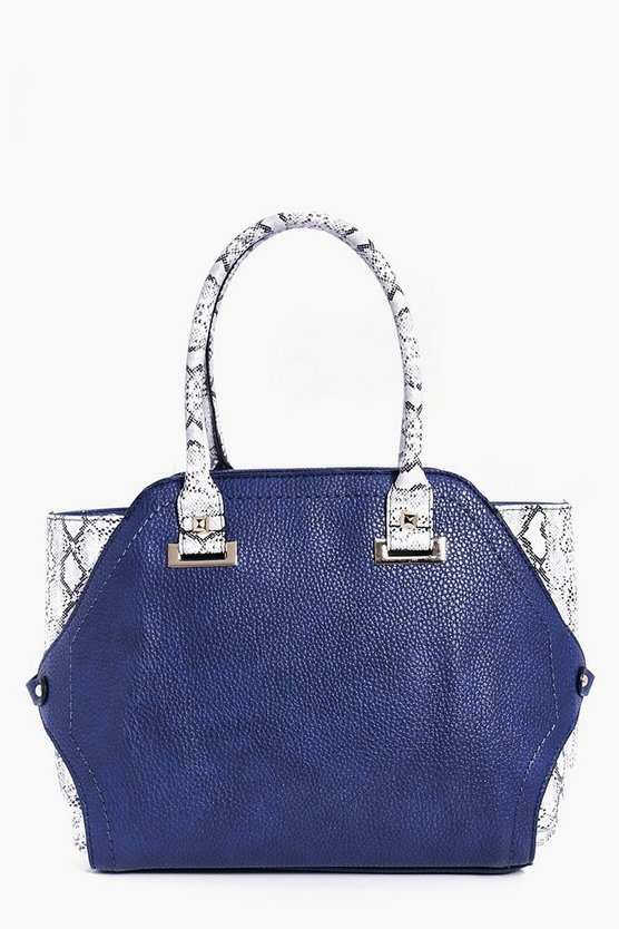 Rose Faux Snakeskin Colourblock Day Bag