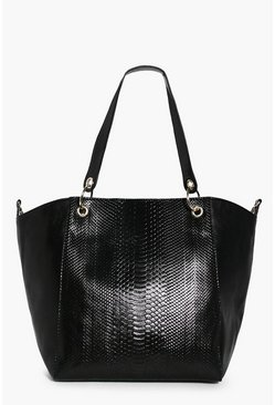 Maddison Faux Snake Metal Detail Day Bag