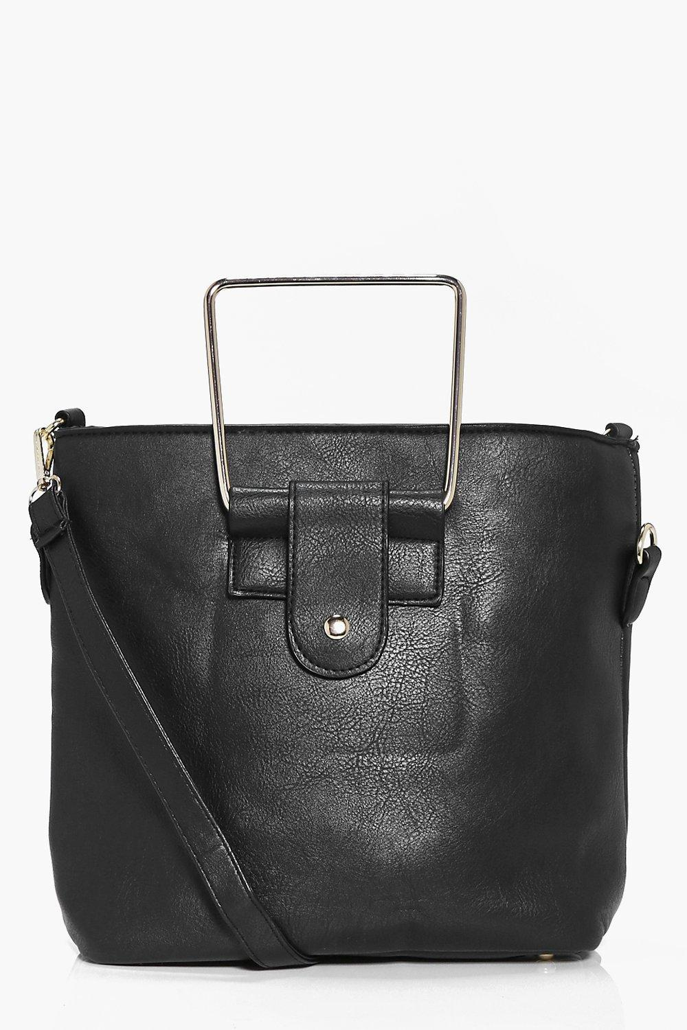 Metal Handle Structured Duffle Bag - black - Isobe