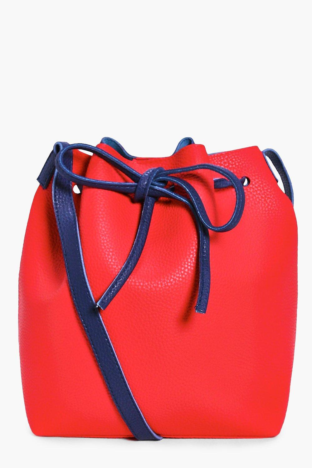 Colourblock Tie Duffle Bag - red - Annabelle Colou