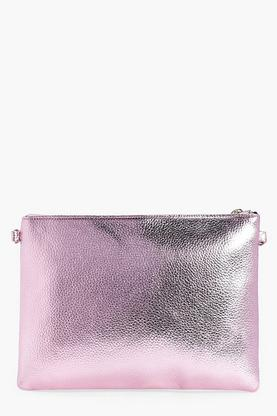 Molly Metallic Zip Top Clutch Bag