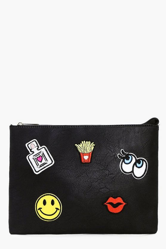 Amelia Badge Detail Zip Top Clutch Bag