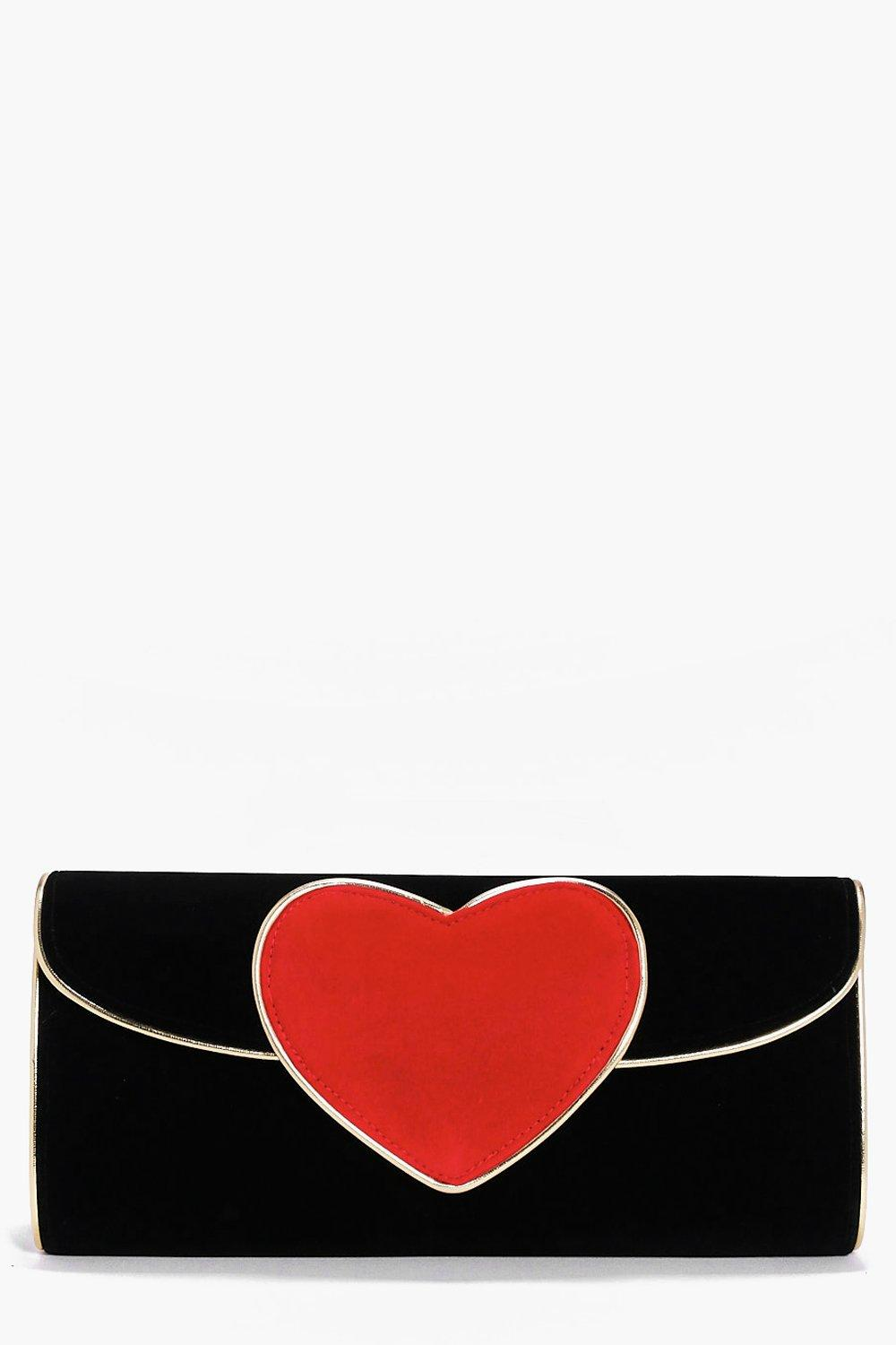 Saskia Velvet Heart Clutch Bag