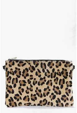 Heidi Faux Leopard Pony Clutch Bag