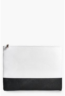 Zoe Monochrome Colourblock Clutch Bag