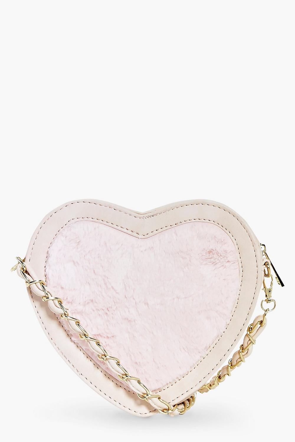 Kayla Faux Fur Heart Cross Body Bag