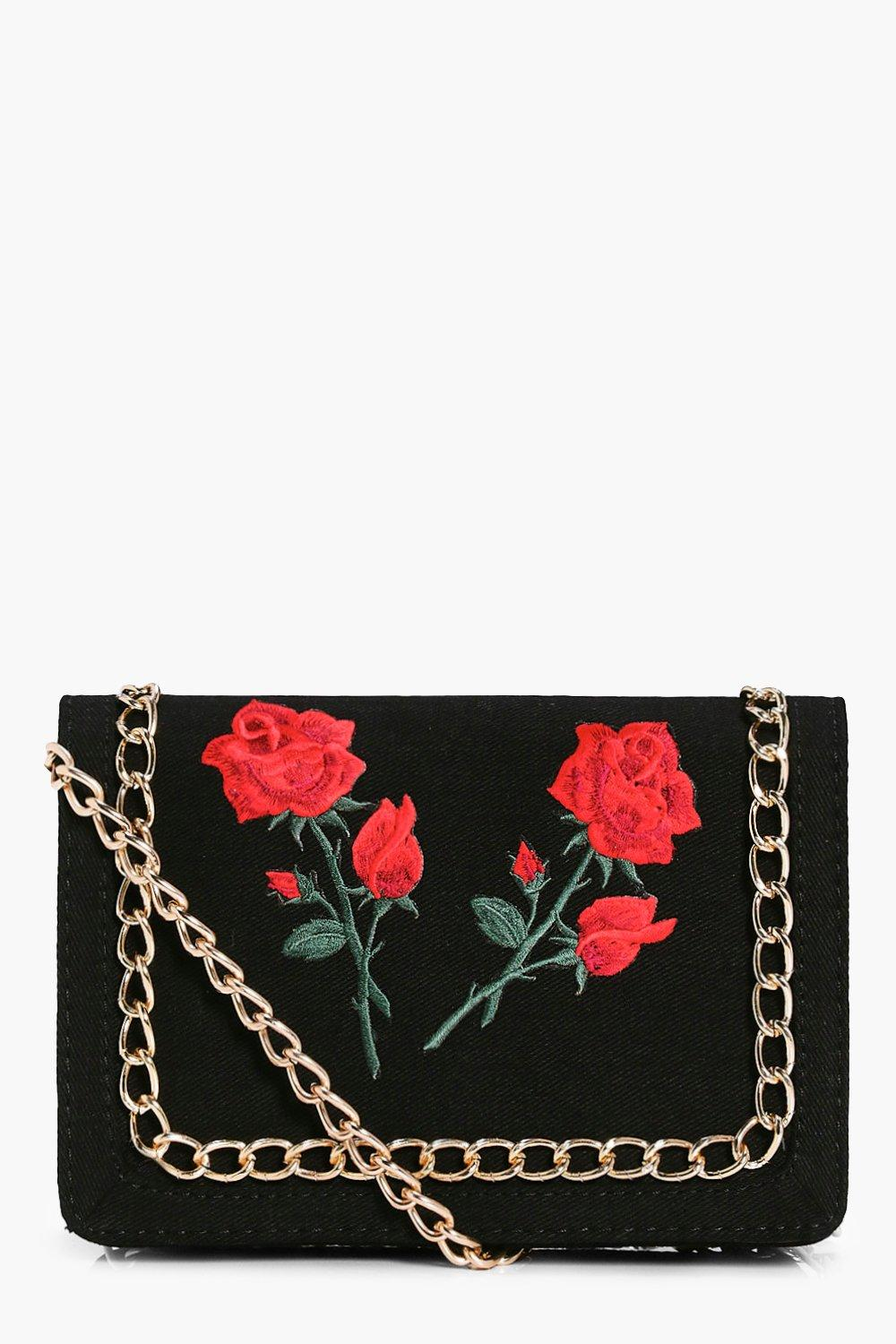 Floral Patch Chain Trim Cross Body Bag - black - N