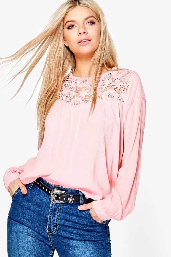 Hollie Crochet Insert Blouse