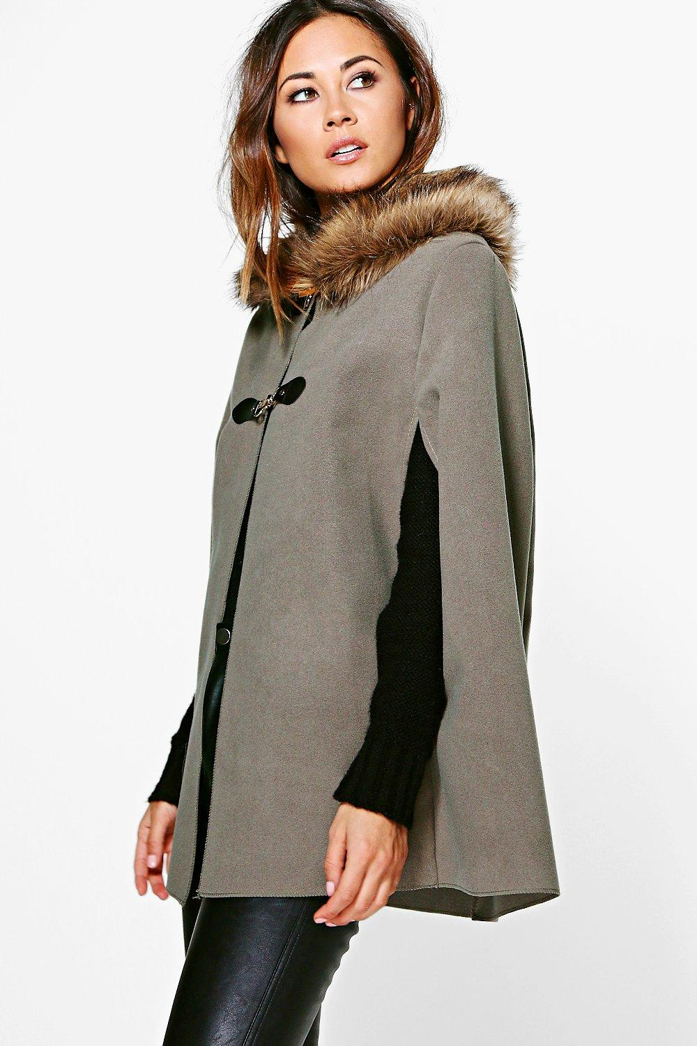 Shop 1960s Style Coats and Jackets Olivia Faux Fur Collar Wool Look Cape mocha $37.00 AT vintagedancer.com