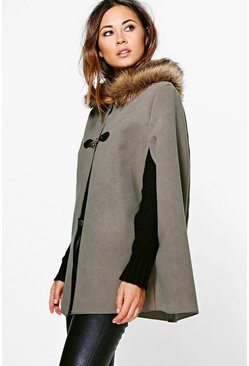 Olivia Faux Fur Collar Wool Look Cape