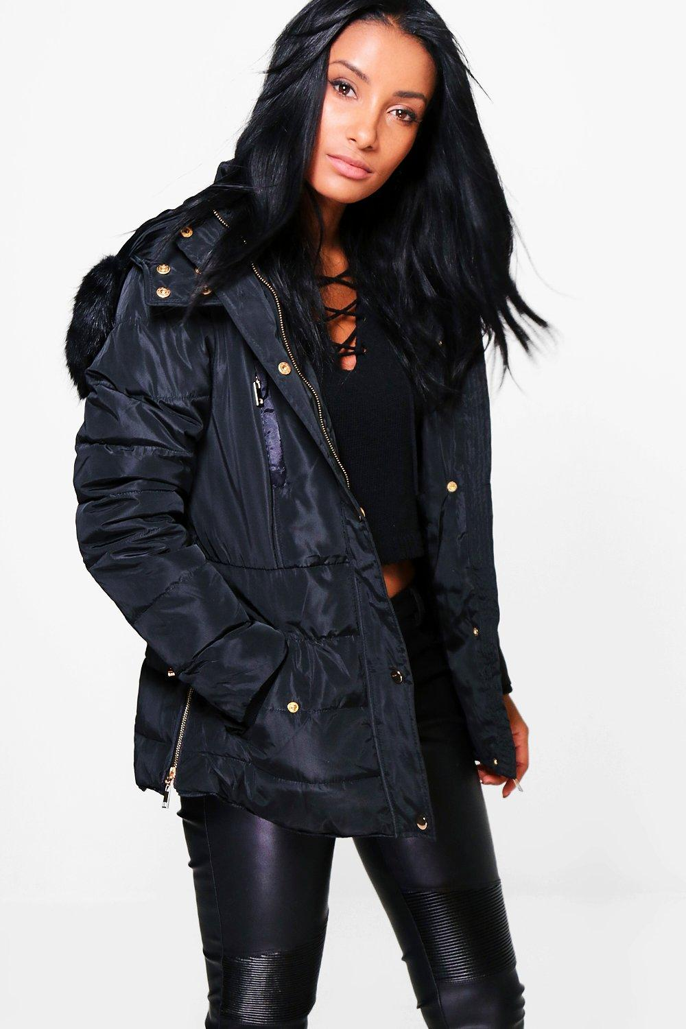 Emma Faux Fur Hood Crop Bubble Coat
