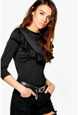 Maya Ruffle Detail 3/4 Sleeve Top